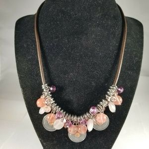 Chaps Silver Tone Pink Charms Brown Cord Necklace